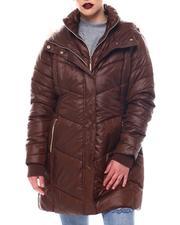 Fashion Lab - Hooded Padded Coat W/ Zipper Pockets & Back Waist Shirring Tucks Detail-2564783