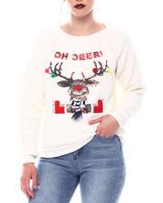 Sweaters - Sequin Reindeer Graphic Crew Neck Raglan Long Sleeve Top-2566092