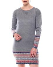 Dresses - Sweater Dress Jacquard Boho Slv Dress Hem V-Insert Neck-2566169