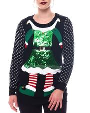 Fashion Lab - 3D Bells Elf Long Slv Crew Neck  Sweater-2566178