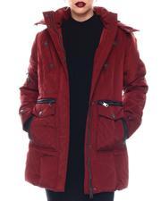 Cyber Monday Deals - Heavy Weight Coat W/Pu Trims Multi Pkts Fur Hood Sherpa Lining Sweater Rib Thumb Hole-2564888