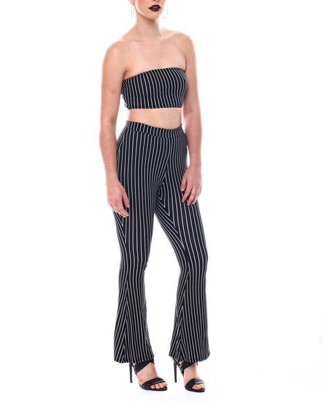 Fashion Lab - Set Pin Stripe Tube Top W/Pin Stripe Pants