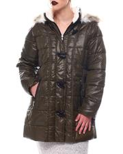 Fashion Lab - Hooded Padded Coat W/Toggle Front Placket Closure & Bottom Zipper Pockets-2564650