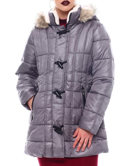 Fashion Lab - Hooded Padded Coat W/Toggle Front Placket Closure & Bottom Zipper Pockets