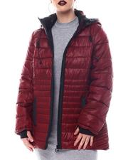 Fashion Lab - Hooded Padded Coat W/ contrast Trim Welt Pockets-2564731