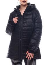 Fashion Lab - Hooded Padded Coat W/ contrast Trim Welt Pockets-2564754