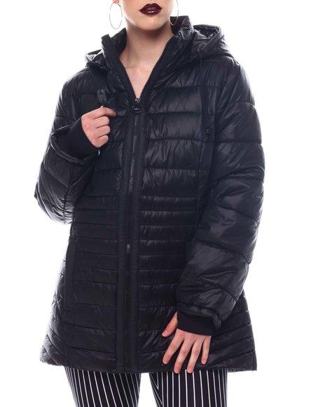 Fashion Lab - Hooded Padded Coat W/ contrast Trim Welt Pockets