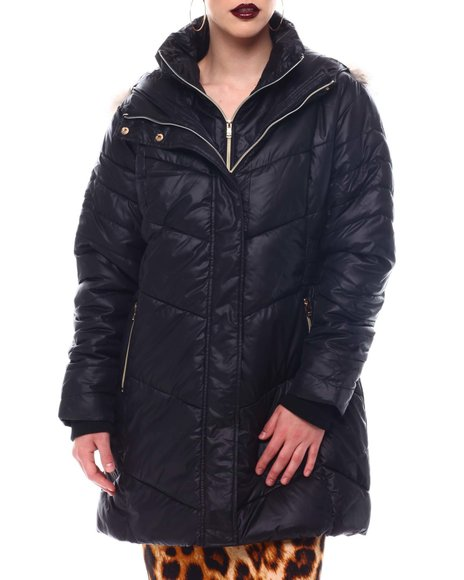 Fashion Lab - Hooded Padded Coat W/ Zipper Pockets & Back Waist Shirring Tucks Detail