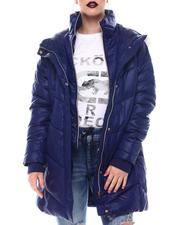 Fall-Winter - Hooded Padded Coat W/ Zipper Pockets & Back Waist Shirring Tucks Detail-2564794