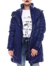 Fashion Lab - Hooded Padded Coat W/ Zipper Pockets & Back Waist Shirring Tucks Detail-2564794