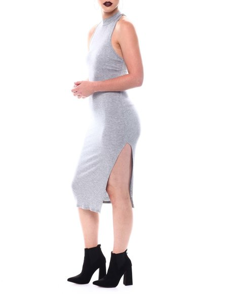 Fashion Lab - Sleeveless High Neck Midi Dress  W/Side Slit
