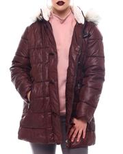 Fashion Lab - Hooded Padded Coat W/Toggle Front Placket Closure & Bottom Zipper Pockets-2564689