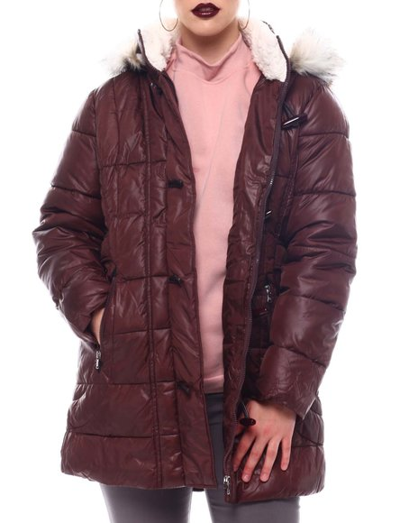 Fashion Lab - Hooded Padded Coat W/Toggle Front Placket Closure & Bottom Zipper Pockets