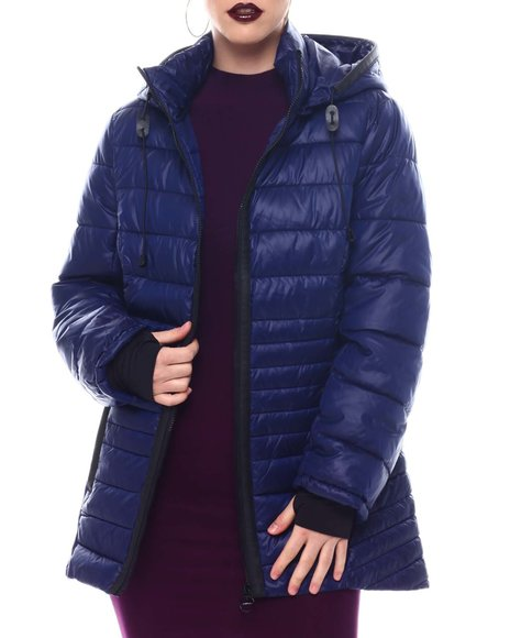 Fashion Lab - Hooded Padded Coat W/ contrast Trim Welt Pockets