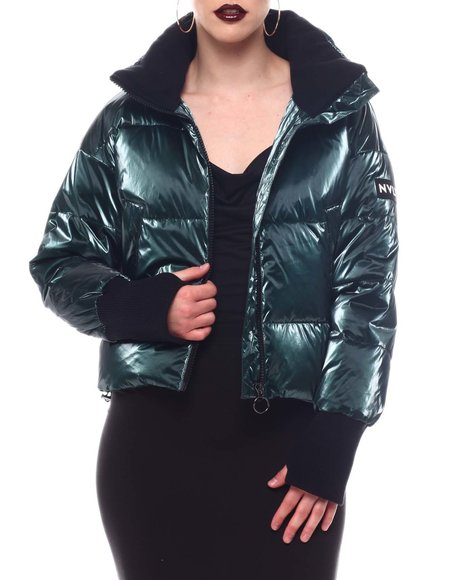 Fashion Lab - Shiny Crinkle Down Mix Jacket