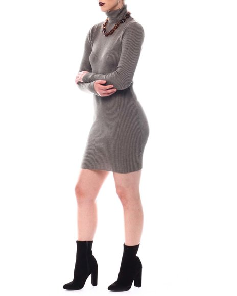 Fashion Lab - Turtle Neck Sweater Long Sleeve Dress