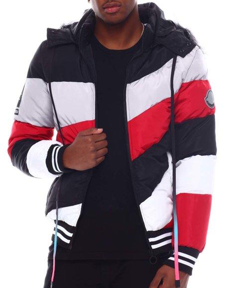 Buyers Picks - Asymmetrical Colorblock Puffer Coat w Hood