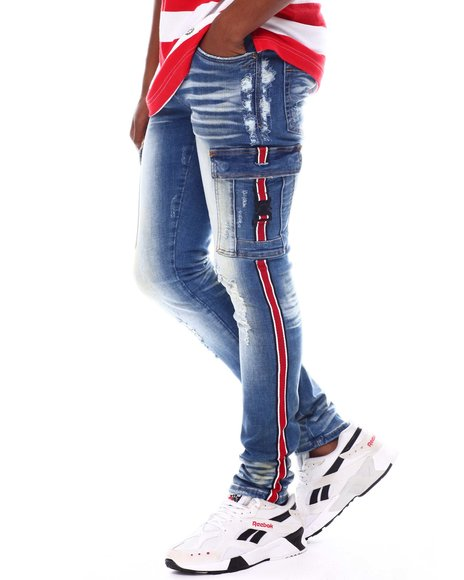 Industrial Indigo - Stripe Cargo Jean