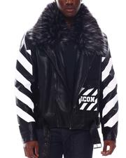 Men - ICON PU Biker Jacket with Detachable fur trim-2565720