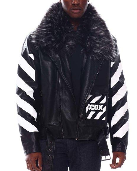 Copper Rivet - ICON PU Biker Jacket with Detachable fur trim