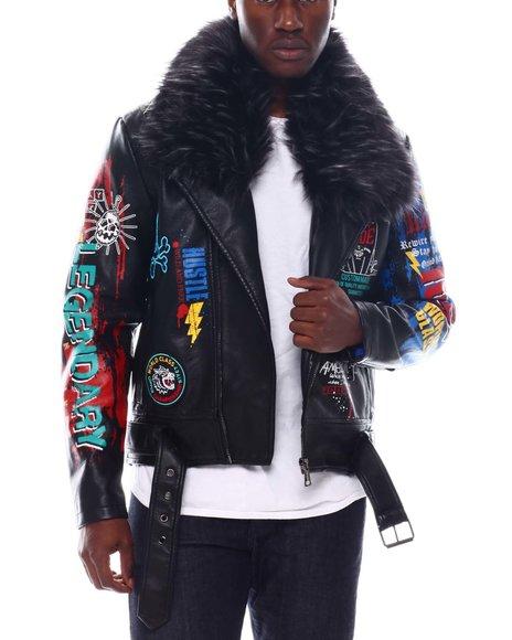 Copper Rivet - PU Biker Jacket with Detachable fur trim