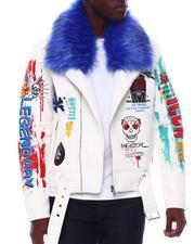 Copper Rivet - PU Biker Jacket with Detachable fur trim-2565708