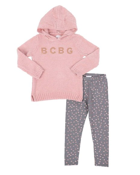BCBGirls - 2 Pc Chenille Lurex Hooded Sweater & Printed Leggings Set (4-6X)