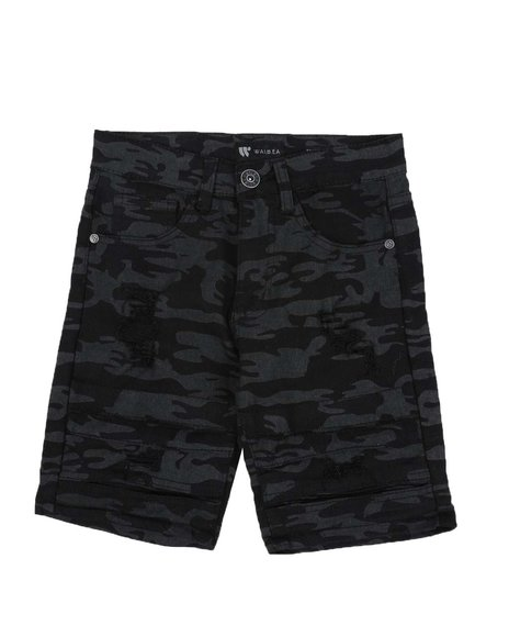 Arcade Styles - Camo Denim Shorts (8-20)