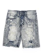 Arcade Styles - Bleach Splatter Distressed Denim Shorts (8-20)-2565227