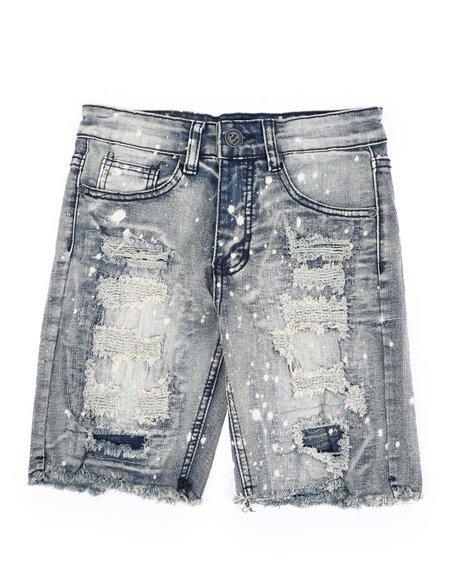 Arcade Styles - Bleach Splatter Distressed Denim Shorts (8-20)