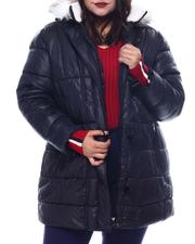 Plus Size - Hooded Padded Coat W/Toggle Front Placket Closure & Bottom Zipper Pockets-2564925