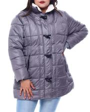 Plus Size - Hooded Padded Coat W/Toggle Front Placket Closure & Bottom Zipper Pockets-2564929