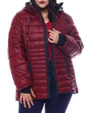 Fashion Lab - Plus Hooded Padded Coat W/ contrast Trim Welt Pockets-2564940