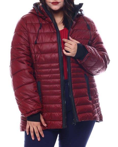 Fashion Lab - Plus Hooded Padded Coat W/ contrast Trim Welt Pockets
