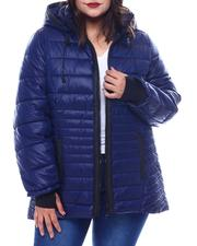 Plus Size - Plus Hooded Padded Coat W/ contrast Trim Welt Pockets-2564944