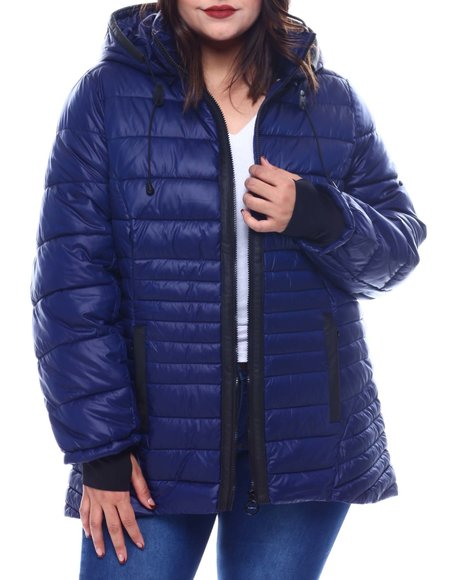 Fashion Lab - Plus Hooded Padded Coat W/ contrast Trim Welt Pockets