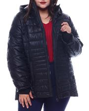 Plus Size - Plus Hooded Padded Coat W/ contrast Trim Welt Pockets-2564948
