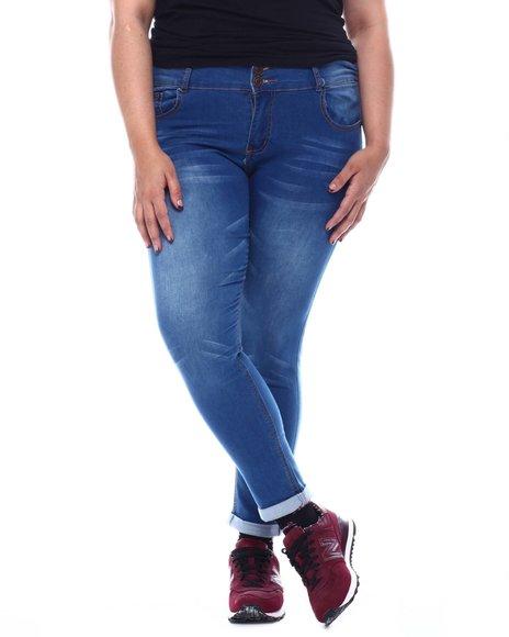 Fashion Lab - Plus High Rise 2Btn W/B Whisker Super Soft Rayon Jeans