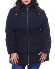 Plus Size - Plus Hooded Padded Coat W/Smocking Waist Band Detail & Welt Pockets Faux Fur Trim Hoody-2565008