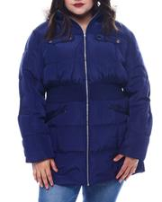 Plus Size - Plus Hooded Padded Coat W/Smocking Waist Band Detail & Welt Pockets Faux Fur Trim Hoody-2565017