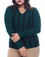 Plus Size - Plus Long Sleeve Stripe Front Sweater-2565064