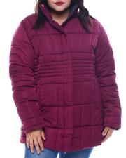 Plus Size - Plus Quilted Bubble Jacket Hoodie-2565822