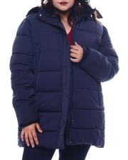 Plus Size - Plus Quilted Bubble Jacket Faux Fur Hoodie-2565831