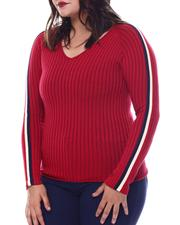 Plus Size - Plus V-Neck Sweater  W/ Contrast Contrast Color Stripe Sleeve-2565060