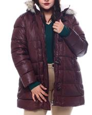 Plus Size - Hooded Padded Coat W/Toggle Front Placket Closure & Bottom Zipper Pockets-2564908