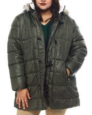 Plus Size - Hooded Padded Coat W/Toggle Front Placket Closure & Bottom Zipper Pockets-2564917