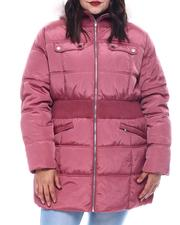 Plus Size - Plus Hooded Padded Coat W/Smocking Waist Band Detail & Welt Pockets Faux Fur Trim Hoody-2564984