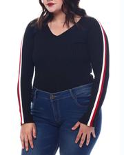 Plus Size - Plus V-Neck Sweater  W/ Contrast Contrast Color Stripe Sleeve-2565048