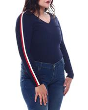 Plus Size - Plus V-Neck Sweater  W/ Contrast Contrast Color Stripe Sleeve-2565056
