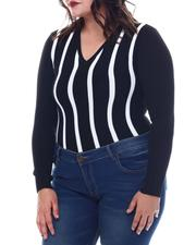 Plus Size - Plus Long Sleeve Stripe Front Sweater-2565072